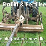 Commercial fertiliser application in grass pasture field flatlifting and fertilising with nitrogen, phosphorus and organic matter