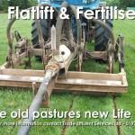 Commercial fertiliser application in grass pasture field flatlifting and fertilising with nitrogen, phosphorus and organic matter